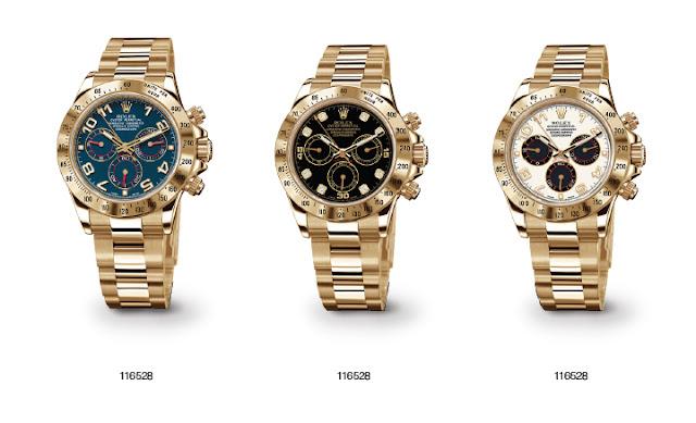 3 modelos distintos en dorado de Rolex