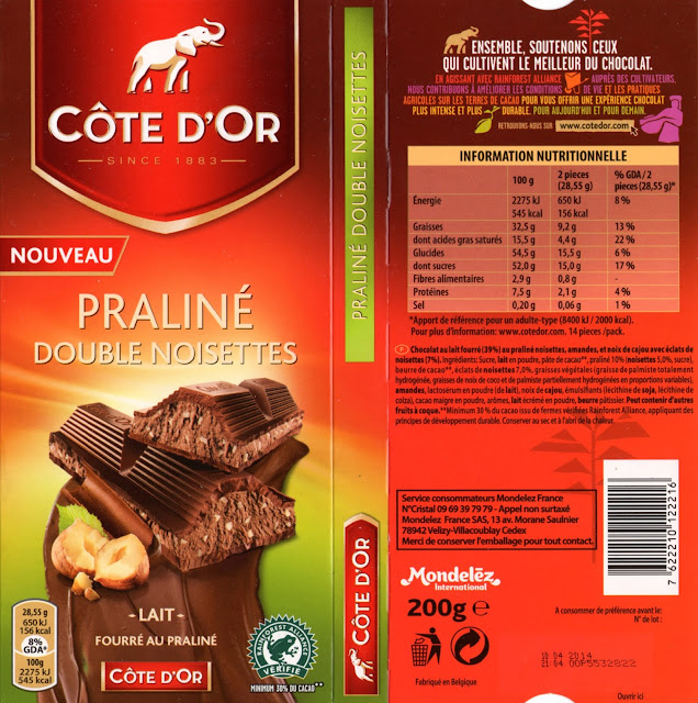 tablette de chocolat lait gourmand côte d'or lait praliné double noisettes