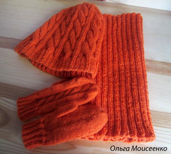 вязание на заказ, шапка и варежки на заказ