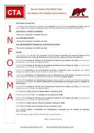 C.T.A. INFORMA, LO REALIZADO EN DICIEMBRE DE 2018
