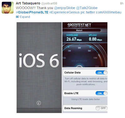 Globe iPhone 5 LTE Speed Test sample