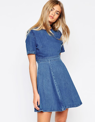 ASOS denim crop top skater dress