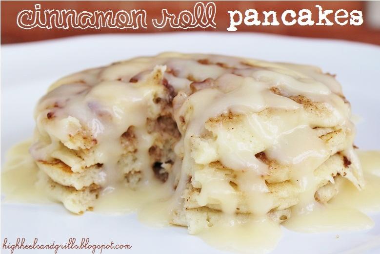 Cinnamon Roll Pancakes - High Heels and Grills