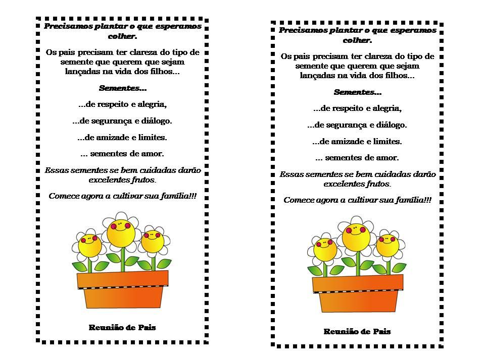 Muito Tia da Creche: Convites para reunião de pais OU08