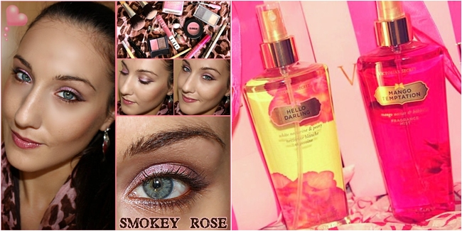 Instagram @lelazivanovic. Smokey rose makeup tutorial for blue-green eyes by Jelena Zivanovic. Victoria's secret body mists.