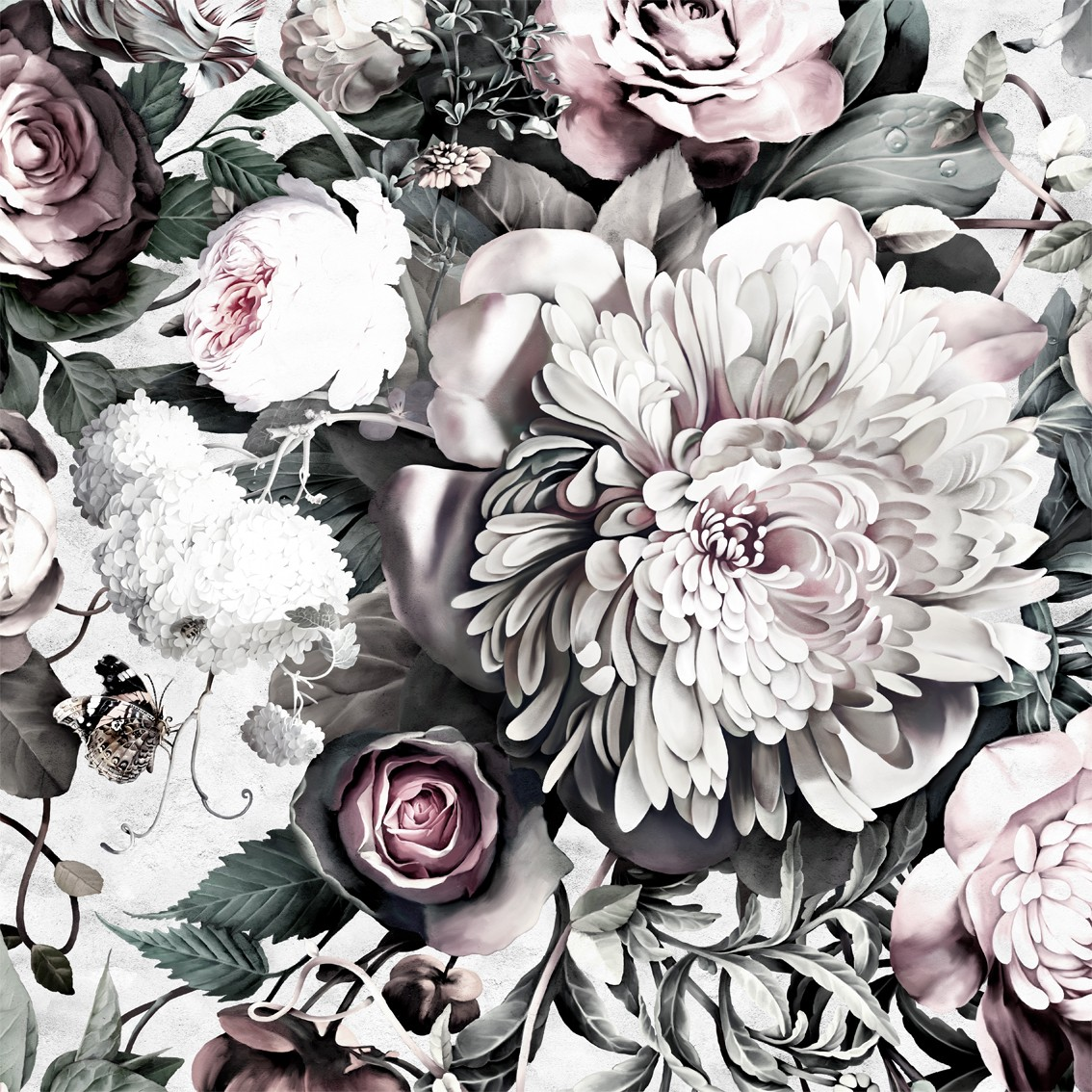 Black floral print wallpaper dark floral wallpaper by ellie cashman -  To Wallpaper The Main Focal Wall In Jenn S Office That You See Upon Walking In Her Space We Decided On A Bold Floral Print Ellie Cashman S Dark Floral