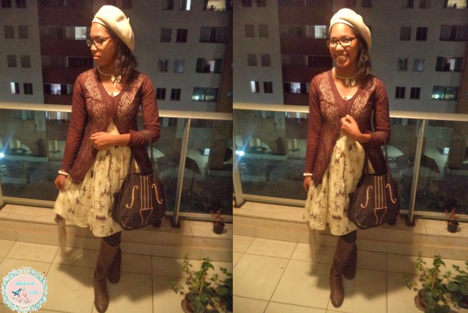 outfit, coordinate, look, lolita, lolita fashion, brown, Innocent World, violin bag, Zara, casual, classic, classical, a la mode, blog Delírios de Consumo, jennysakura