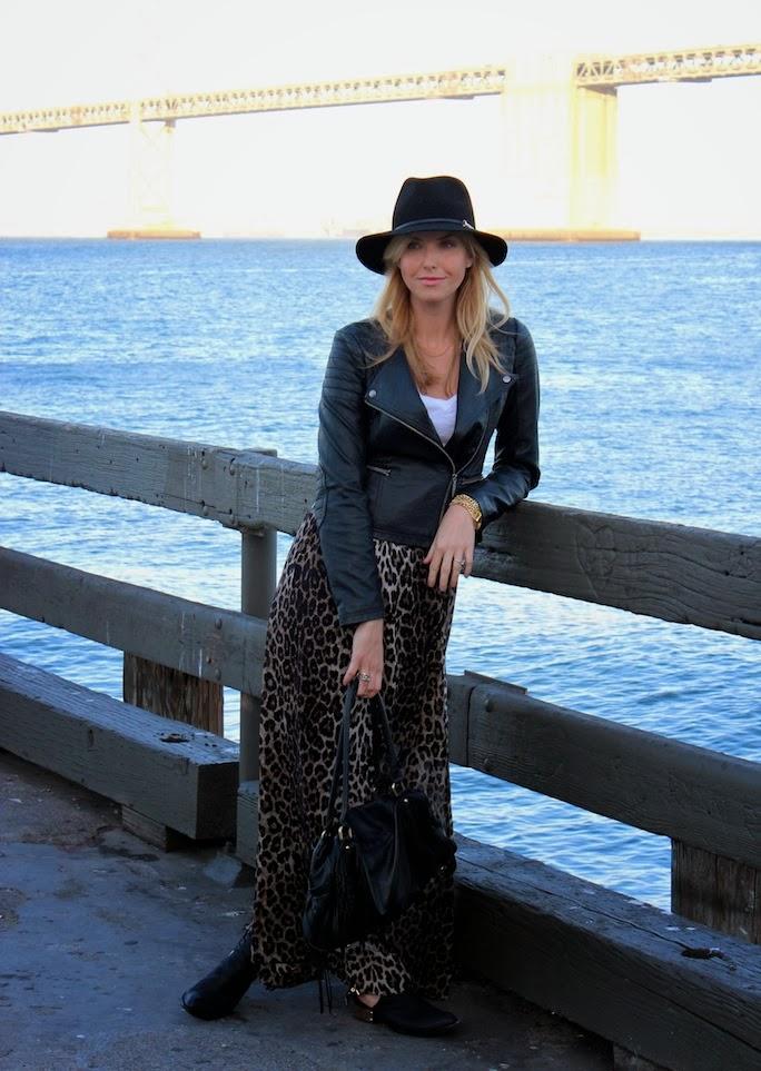 moto jacket- leopard print maxi skirt