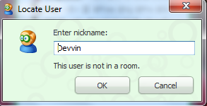 Locate User This user is not in a room