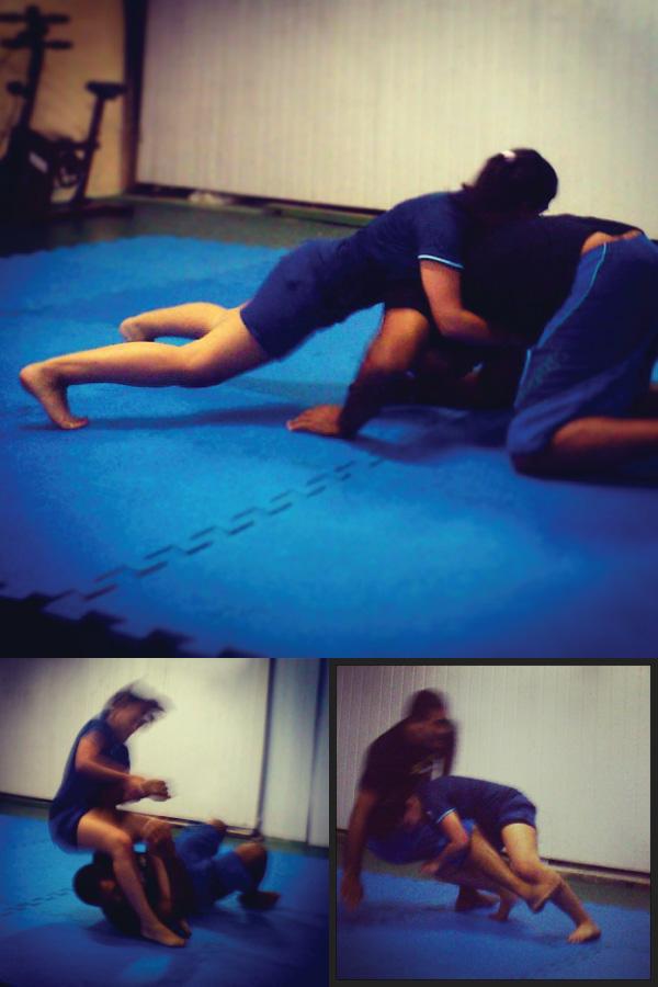 Treino jiu jitsu mulher kimono submission