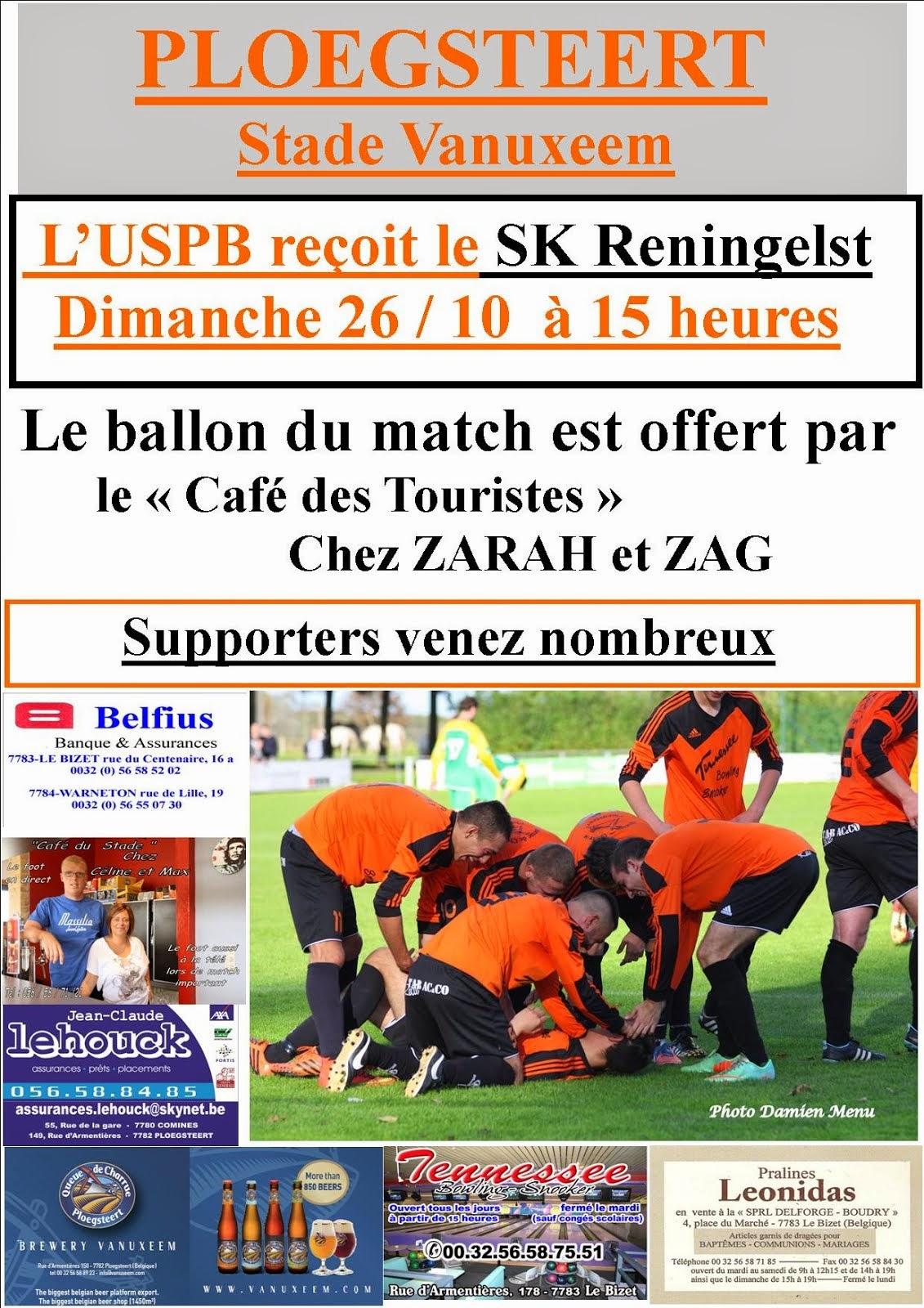 26 octobre 15 heures USPB - SK Reningelst