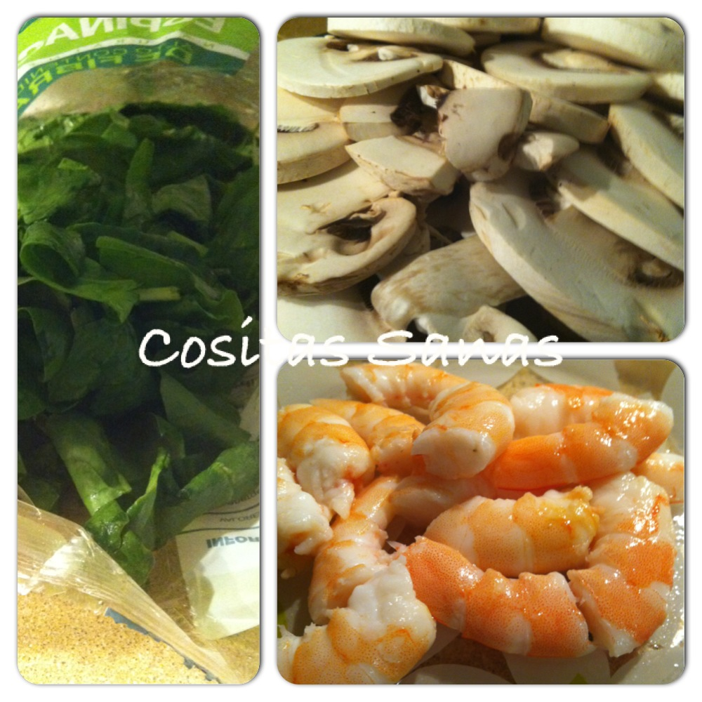 receta salteado espinacas con gambas