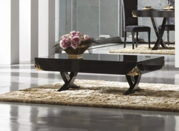 Black Glass Coffee Table In Luxury Living Room Interior