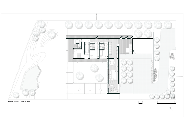Ground floor plan of Black Concrete House by Pitagoras Arquitectos