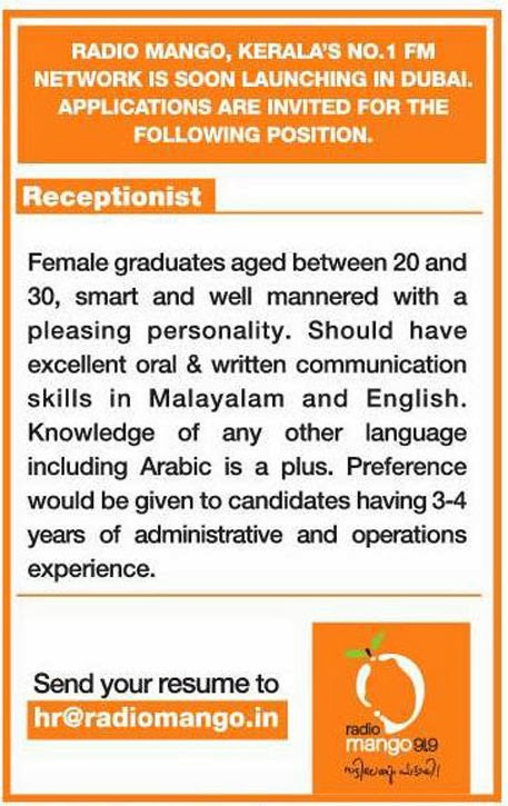 radio mango dubai recruiting receptionist