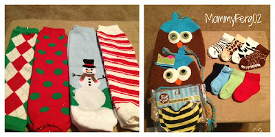 Items reviewed-Christmas Leg Warmers, Crocheted Owl Hats, Socks, and Bib.