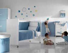 cuarto de bebé celeste blanco