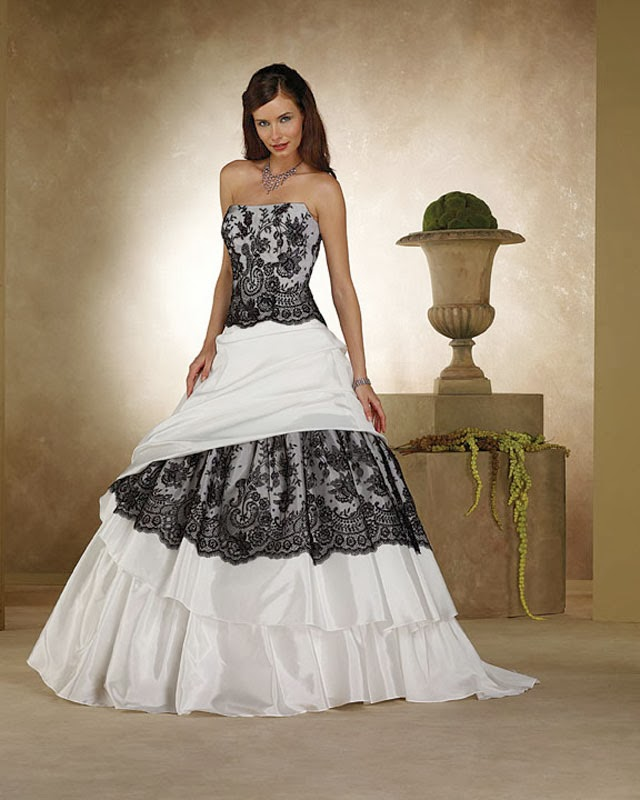 Ball Gown Black And White Wedding Dress