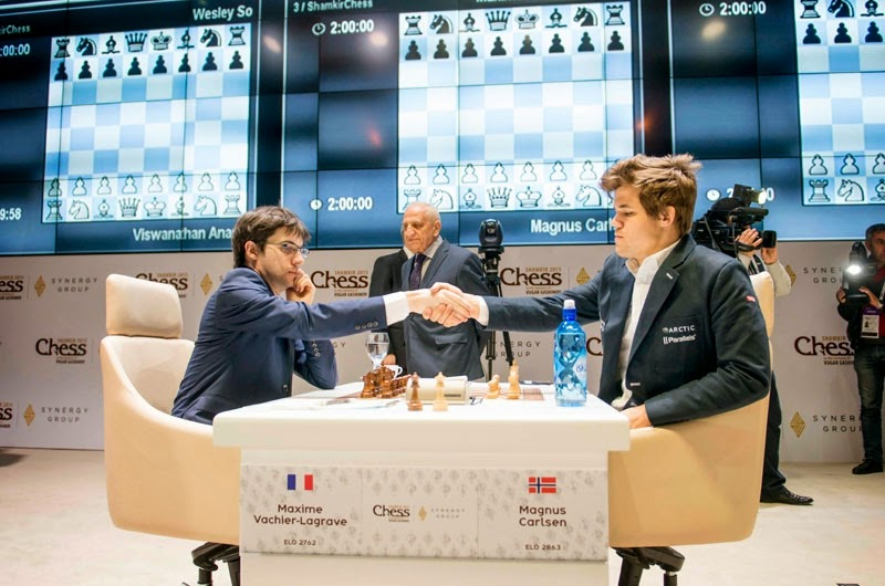 Carlsen bat MVL à la ronde 5 du Mémorial Vugar Gashimov - Photo © Shamkir Chess Tournament 2015