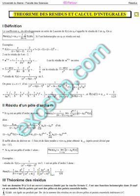cours théorème des résidus et calcul d'intégrales