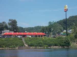 First time we've seen McD's for  boaters!  Mile 250. (Pittsburgh is mile 0)
