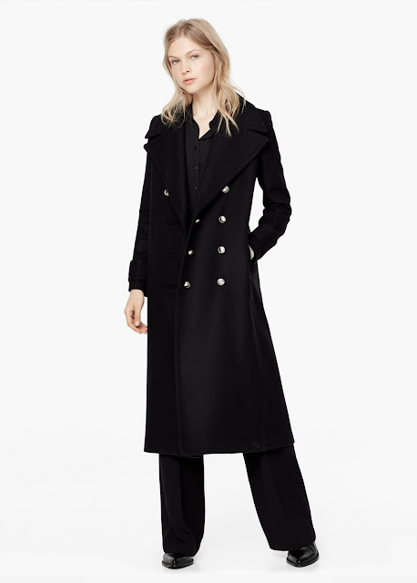 black long wool coat, metal buttons black coat,