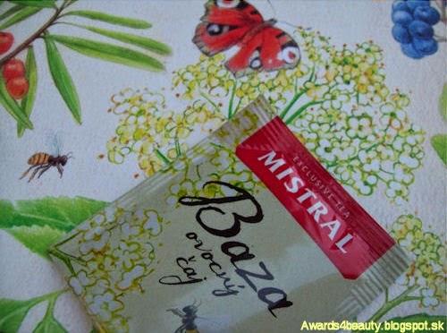 Čaj Mistral z bazy čiernej a krásny detail vrecúška