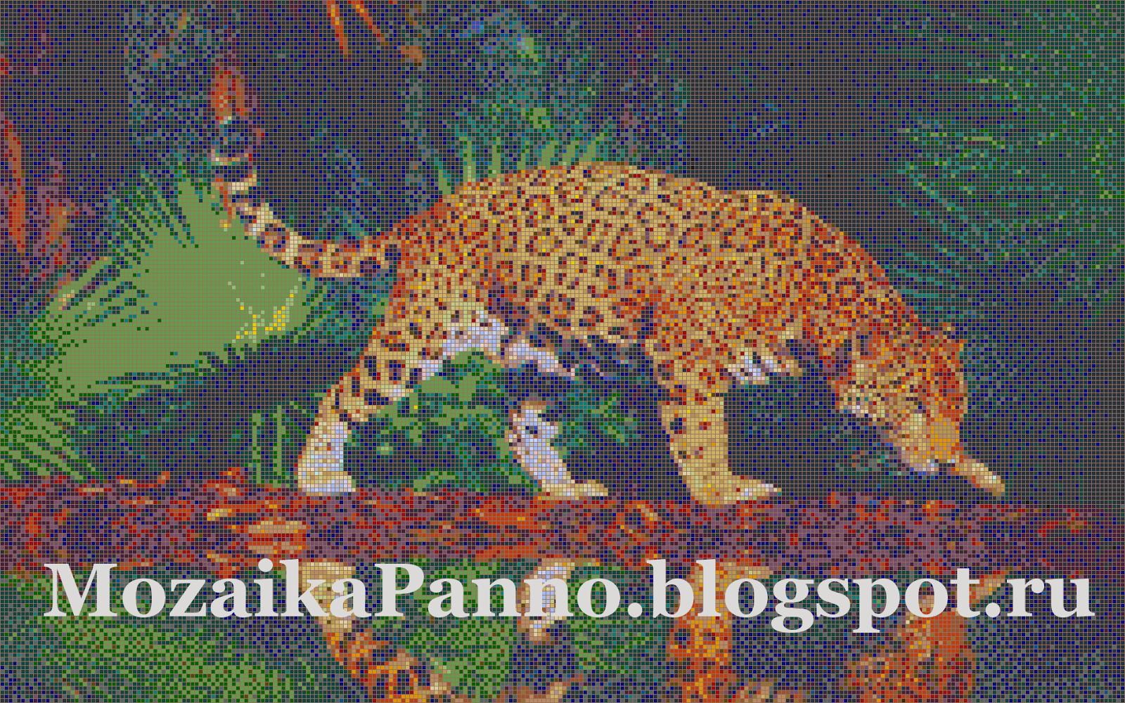 Картина из стеклянной мозаики «Ягуар в джунглях»