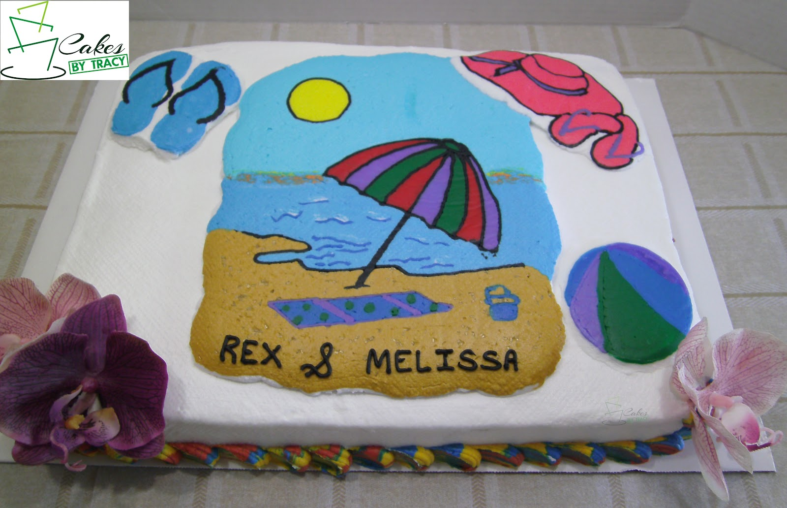 beach theme wedding shower cake