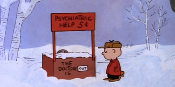 Charlie at Lucy's help stand in A Charlie Brown Christmas 1965 animatedfilmreviews.blogspot.com