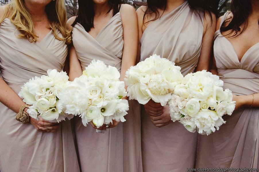 les fleurs : white bridesmaids bouquets : calla lilies, ranunculas, peony, roses : champagne bridesmaid dresses