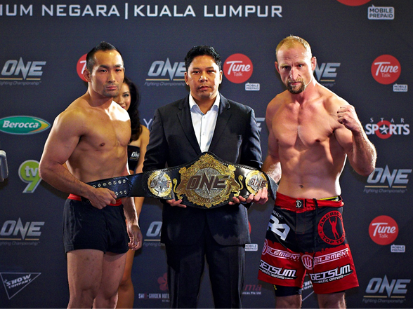 ONE FC 14 War of Nations weigh-ins Brock Larson vs. Suzuki Nabutatsu