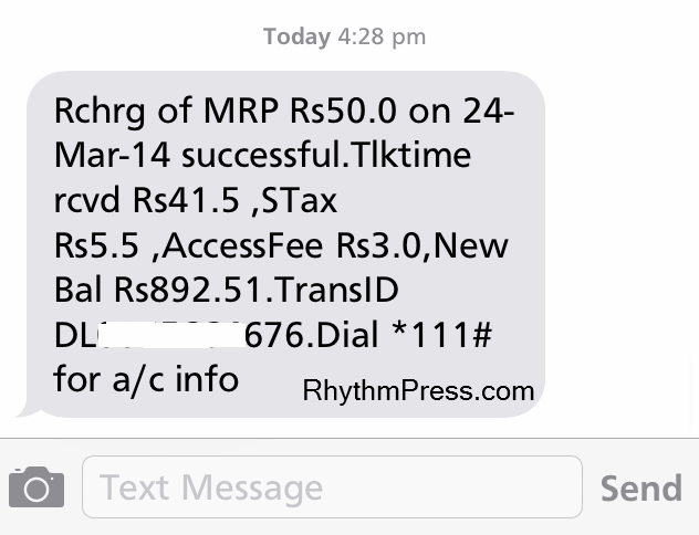 Rs 50 Recharge Done - LINE