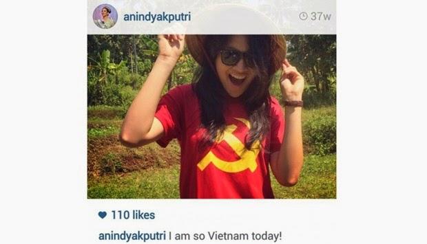 Dikecam Netizen Berkaus Palu-Arit, Ini Alasan Putri Indonesia 2015