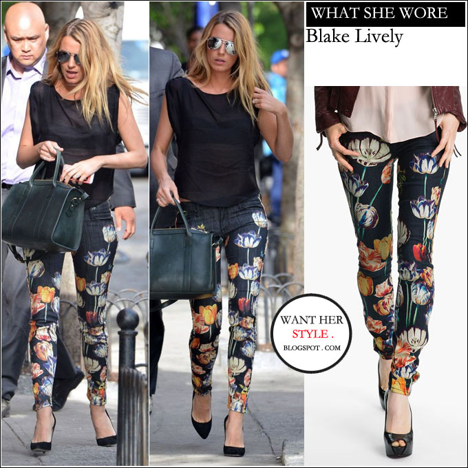 what she wore blake lively in floral print skinny jeans