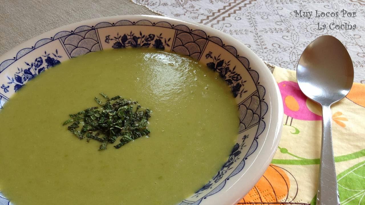 Sopa de Patata, Guisantes, Puerro y Menta