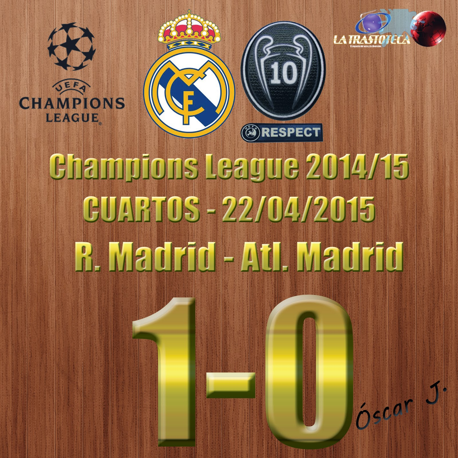 Real Madrid 1-0 Atlético de Madrid - Champions League 2014/15 - Cuartos - (22/4/2014) - REAL MADRID CLASIFICADO.