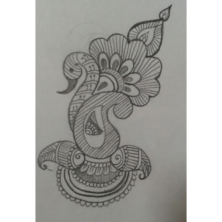 Pencil sketch of bajuband mehndi designs