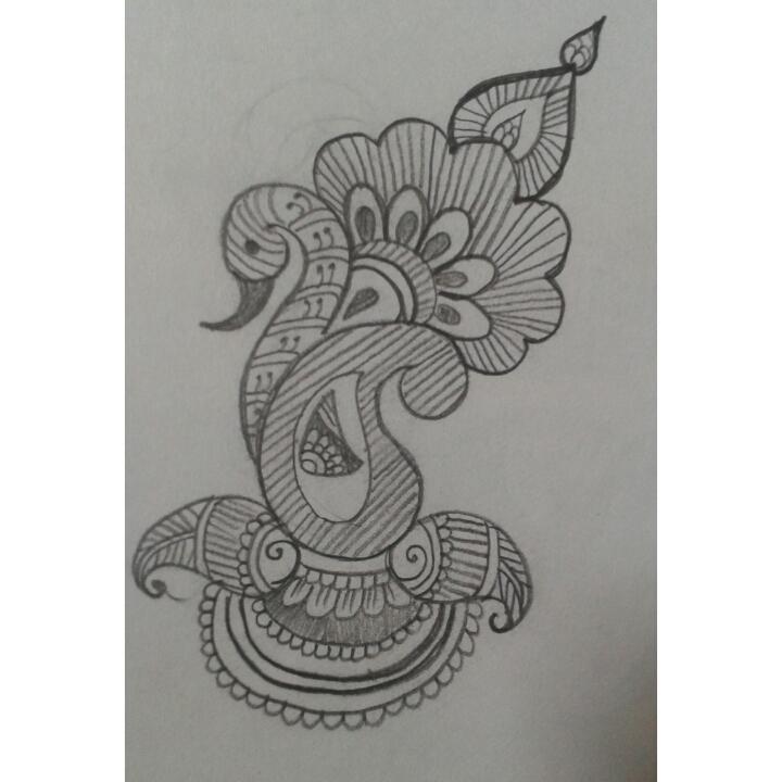 Mehndi Tattoo Bajuband : Arabic mehndi design pencil sketch makedes