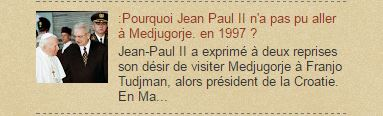 :Pourquoi Jean Paul II n'a pas pu aller à Medjugorje. en 1997 ?