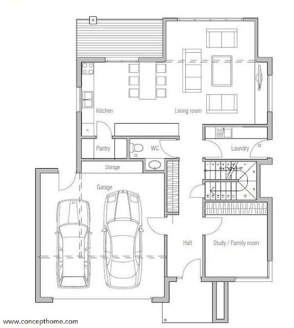 Gambar Denah Rumah Minimalis 2 Lantai 5 Kamar Tidur Sederhana