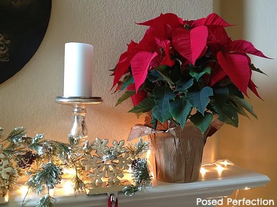 Poinsettia and Snowflakes Mantel