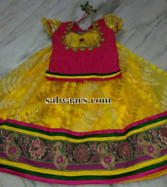 Yellow and Pink Jute Net Lehenga