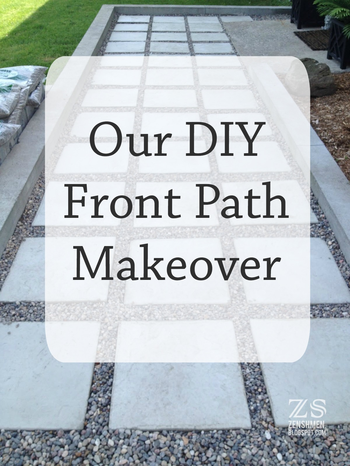 Our Diy Front Path Makeover Zenshmen Project Curb Eal Flagstone Pavers River