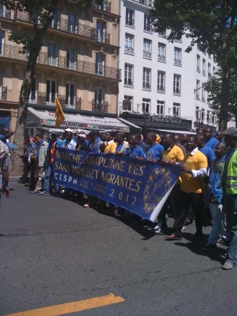 Manifestation pour la marche européenne des Sans Papiers de la CISPM France à Paris - 26 mai 2012