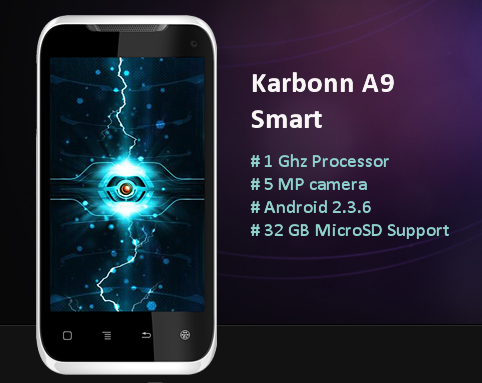 Karbonn android A9 Smart 1Ghz 5MP cam