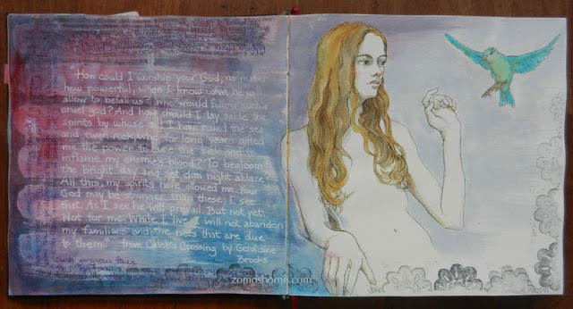 art journal spread, ink and watercolor drawing, girl with bird, Zom Osborne