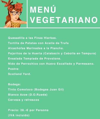 Menú vegetariano para la quedad de bloguericos del 23F.