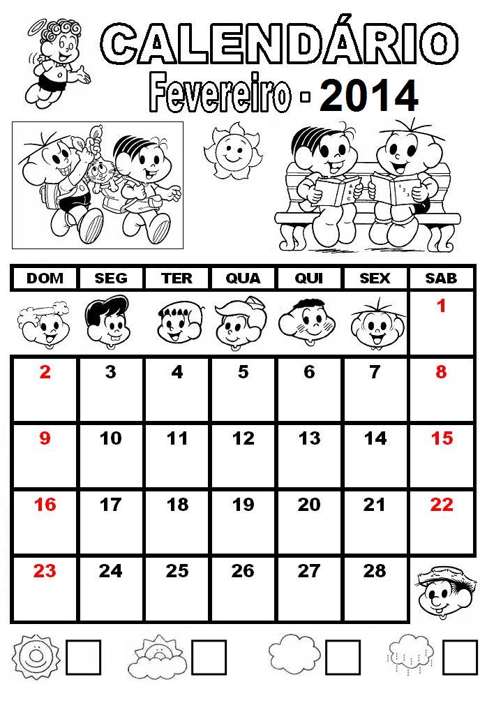 ... CEFAPRO DE PONTES E LACERDA : Calendário de 2014 - Turma da Mônica