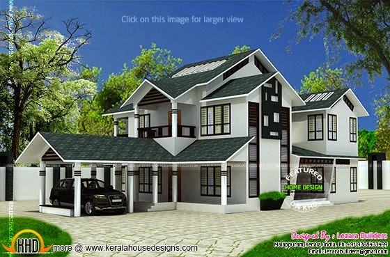 Modern sloping roof house